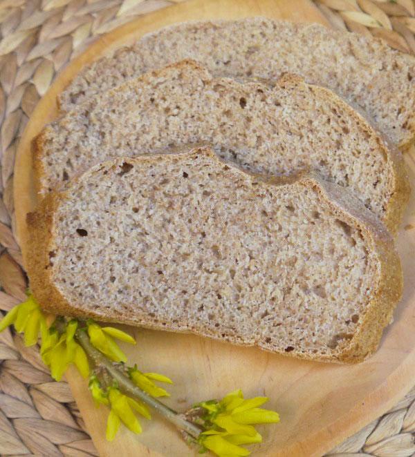 Dagasztás nélküli kenyér teljes kiőrlésű lisztből