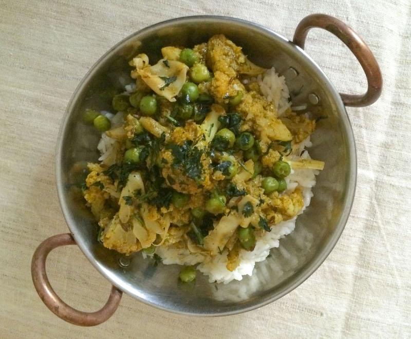 Karfiol-zöldborsó masala