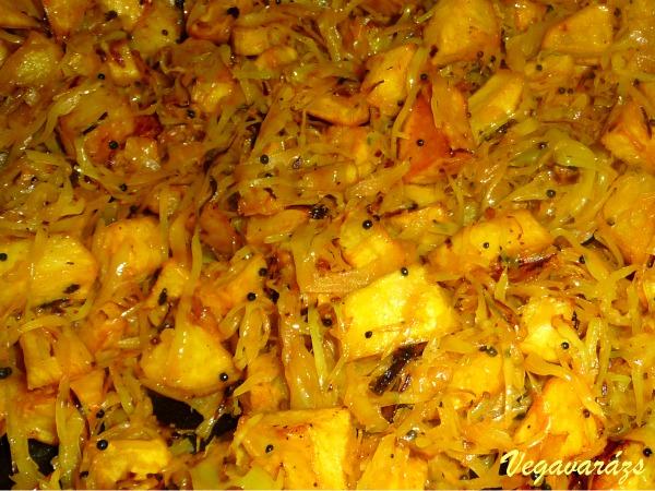Káposzta-sült krumpli sabji